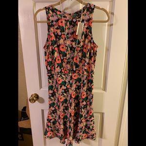 J.Crew Mercantile ruched-waist dress neon floral